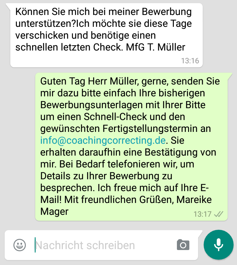 Bewerbung Check Anfrage per whatsapp